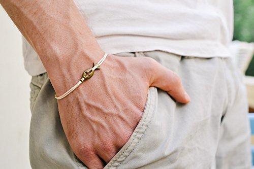 Cross fish bracelet for men, groomsmen gift, mens bracelet with a bronze cross charm, beige cord, gift for him, christian catholic jewelry