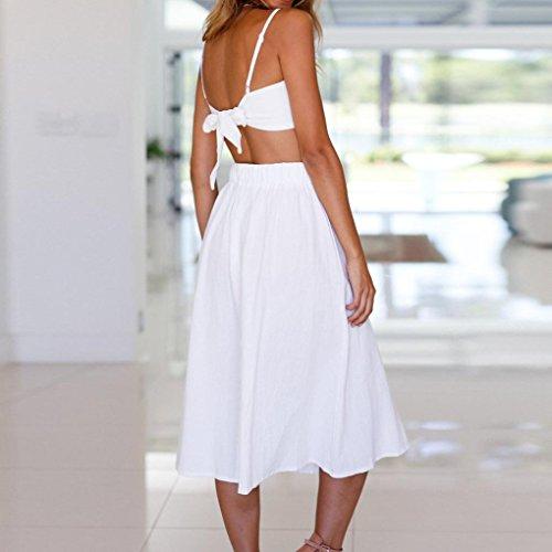 de Dos playa espagueti bowknot juego encaje Vestido botones falda mujer Blanco de de SHOBDW piezas backless Tops de tqqX7wZ