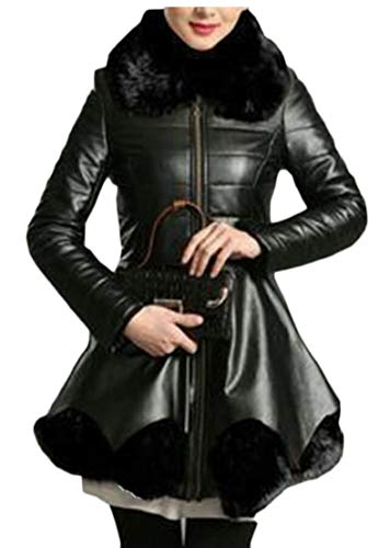 EKU Thick Fashion Women's Leather Jacket Warm Tunic Overcoat Black Collar rxRrpFq