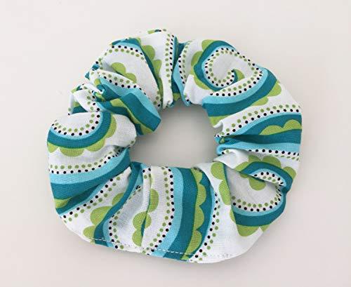 - Handmade Hair Scrunchie - White, Green, Turquoise, 60s Style, Modern Hair Accessories
