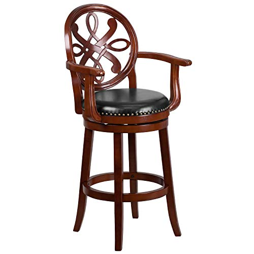 (30'' High Cherry Wood Barstool with Arms, Carved Back and Black Leather Swivel Seat)