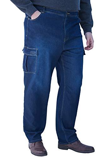 (KingSize Men's Big & Tall Relaxed Fit Cargo Denim Sweatpants, Indigo Tall-4XL)