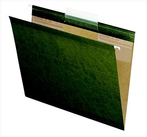 Esselte Standard Folder - Pendaflex 082199 Standard Green Esselte Ready-Tab Polylaminate 0.33 Cut Reinforced Hanging File Folder44; Pack - 25