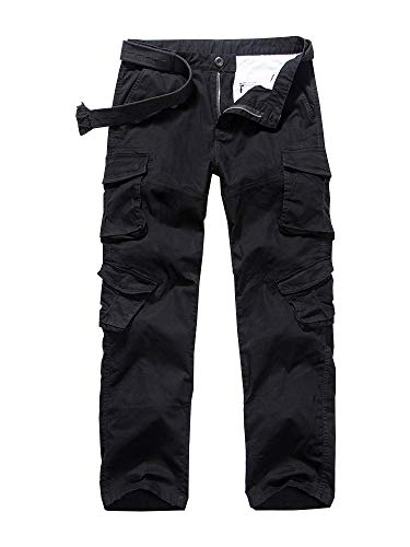 (Men's Casual Military Pants, Camo Tactical Wild Combat Cargo ACU/BDU Rip Stop Trousers #6031-Black,30)