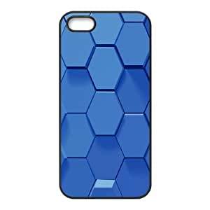 3D Blue Hexagons IPhone 5,5S Cases, Iphone 5s Cases for Men Protector Cute Bloomingbluerose - Black