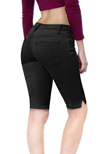 (HyBrid & Company Women's Stretchy Denim Bermuda B19410 Black)