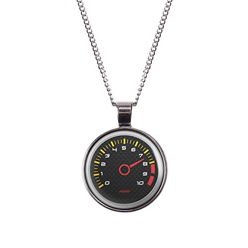 (Mylery Necklace Cabochon Picture Speed ??Meter Tachometer RPM Revolutions Instrument Display Carbon Silver 1.1 inch)