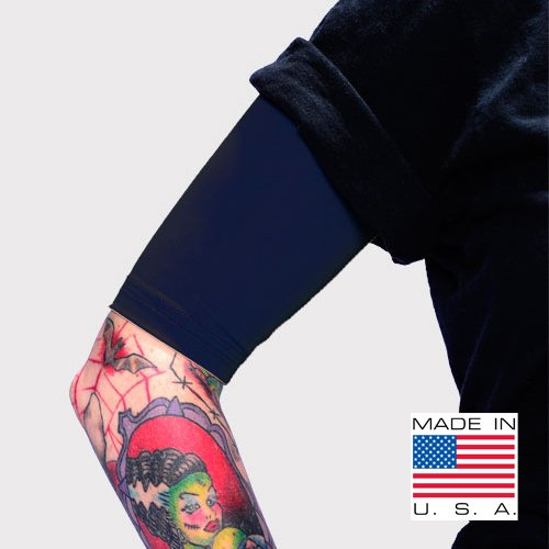 Tat2X Ink Armor Premium Half Arm Tattoo Cover Sleeve - No Slip Gripper - U.S. Made - Dark Navy - ML (Single Half arm Sleeve) ()
