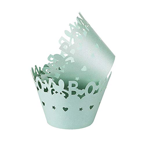 Carry360 Blue Boy Cupcake Wrappers, 100pcs Lace Cupcake Liners Laser Cut Cupcake Paper Wraps Muffin Cups for Baby Shower Party
