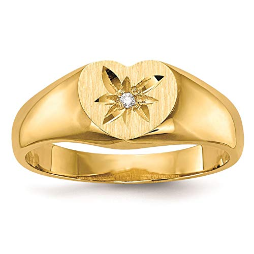 (14K Yellow Gold 5 MM Children's Diamond Heart Signet Ring, Size 3)
