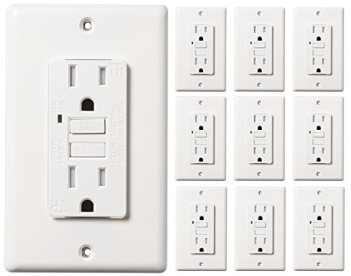 (Faith 15-Amp Self-Testing Slim GFCI Outlet, Tamper-Restant Receptacle with Indicator, Wall Plate Included, White,)