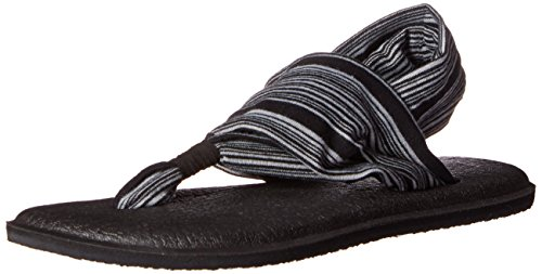 Sanuk Women's Yoga Sling 2 Flip Flop,Black/White,9 M US