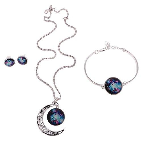 Jili Online Galaxy Universe Art Vintage Gemstone Moon Pendant Necklace Earrings Bracelet Jewelry Set - Multi-color 1 Jewelry Bracelets And Earrings Online