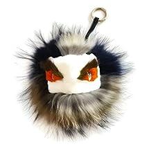 Brown/blue Mink Fox Fur Monster Bugs Pom Pom Doll Ball Key Ring/ Keychain /Bag Charm