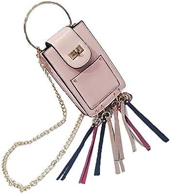 23edf1a584 FGCHFG Borsa a mano in metallo Anello con manico in pelle Borse a tracolla  Borsa a tracolla Messenger Pink