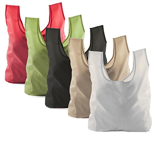 Reusable Grocery Bags | Foldable w/Integrated String Pouch | Ripstop Nylon Tote