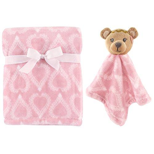 Hudson Baby Plush Blanket and Animal Security Blanket Set, Girl Bear