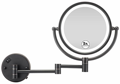 GloRiastar LED Lighted Wall Mount Makeup Mirror with 1x/5x Magnification,Oil-Rubbed Bronze Finish, 8-Inch