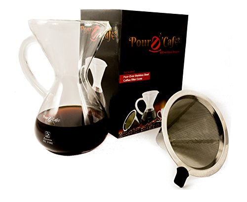 Large Pour Over Coffee Carafe with Stainless Steel Reusable Filter by