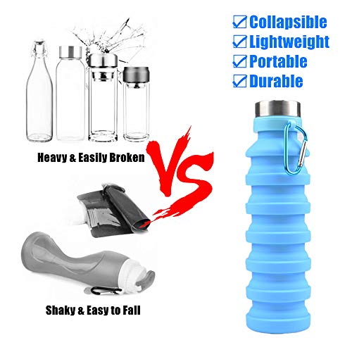 Nefeeko Collapsible Water Bottle, Reuseable BPA Free Silicone Foldable Water Bottles for Travel Gym Camping Hiking, Portable Leak Proof Sports Water Bottle with Carabiner, 18oz