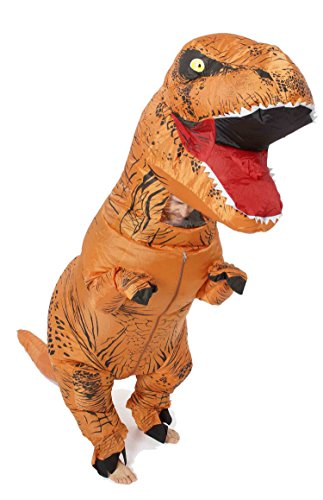 GoPrime T-rex Halloween Party Fancy Dress, Dinosaur Costume, Adult Size (Brown)