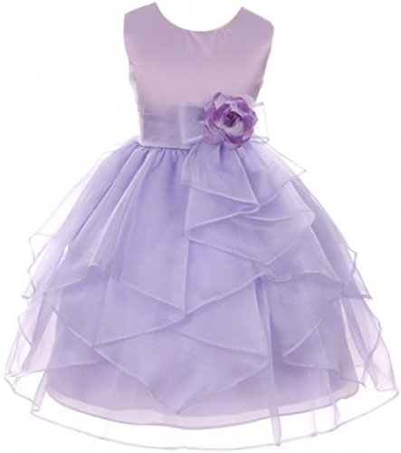 Big Girls' Solid Satin Contrast Organza Ruffle Flower Corsage Flowers Girls Dresses Lilac 8 (G35G70) (Satin Ruffle Dress)