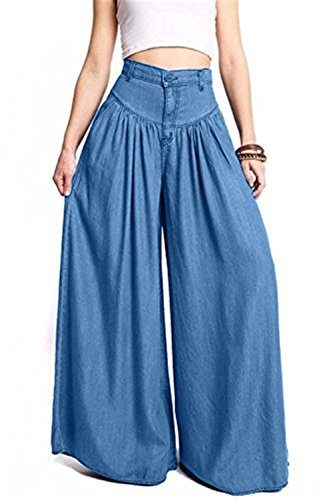 Blau Largos Anchos Anchos Bolsillos Placket Basicas De Tiempo Pantalones Pantalones Respirable Elegantes Con Pantalones Multicapa De Otoño Libre Primavera Vaqueros Disfraz Alta Cómodo Botonadura Cintura tnqwOX7SYx