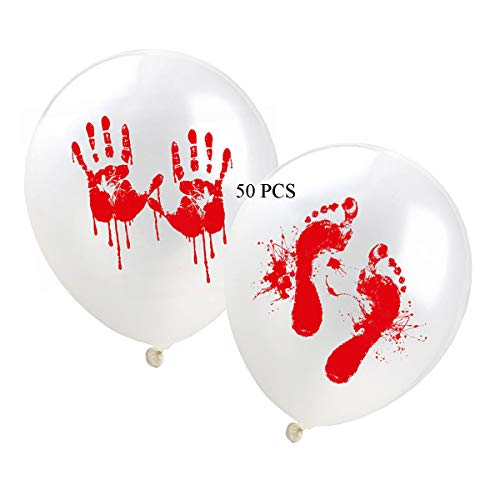 50pcs Halloween Horror Blood Hand Footprints Balloons Halloween Party Balloons 12inch Party Decorations Party Supplies/Blood Splatter Balloons sets for $<!--Too low to display-->