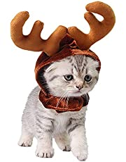 PEDOMUS Dog Cat Costume Christmas Reindeer Antlers Hat Pet Christmas Costume for Cats and Small Dog