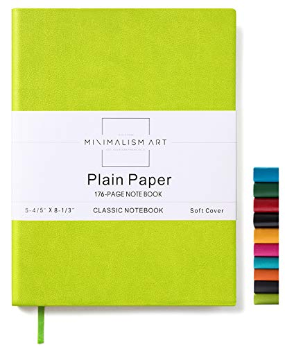 Minimalism Art, Soft Cover Notebook Journal, A5 Size 5.8 X 8.3 inches, Lime Green, Plain/Blank Page, 176 Pages, Fine PU Leather, Premium Thick Paper-100gsm, Ribbon Bookmark, Designed in San Francisco