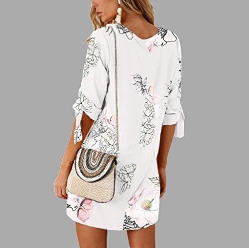 Mini Femmes Casual Straight FNKDOR Floral Elgante Bandage d't Femmes Blanc Courte Robe Robe Manches Demi Bow PBwB7q