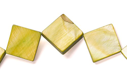 Bright Olive Mother-Of-Pearl Diamond Shell Beads Size:20x20mm -