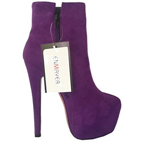 ENMAYER Womens PU Material&Suede Sexy Round toe Zip Stiletto High Heels Platform Ankle Boots Shoes Purple(suede) jbqRtD