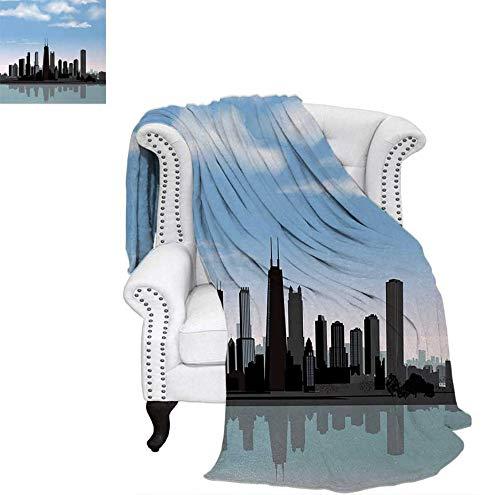 Custom Design Cozy Flannel Blanket Day Time Illinois Missisippi River Clouds Coastal Town Urban Design Lightweight Blanket 70