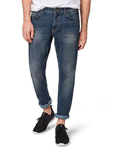 TOM TAILOR Herren Straight Leg Slim Jeans MARVIN, Blau (Mid Stone Wash Denim 10281), W34/L34 (Herstellergröße: W34/L34)
