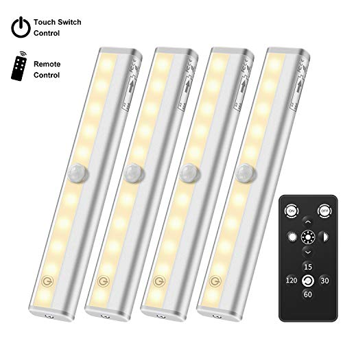 Under Cabinet Lighting Remote Control, Anbock Wireless LED Closet Light Battery Powered, Timer Dimmable Touch Switch Stick on Anywhere for Stairway Wardrobe Kitchen Bathroom Warm White 3000K 4 Pack