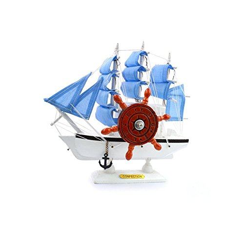 Wooden Music Box Rudder Vintage Sailing Boat Clockwork Kids Children Girls Christmas Birthday Gift Toy Home Decor (Color Random)