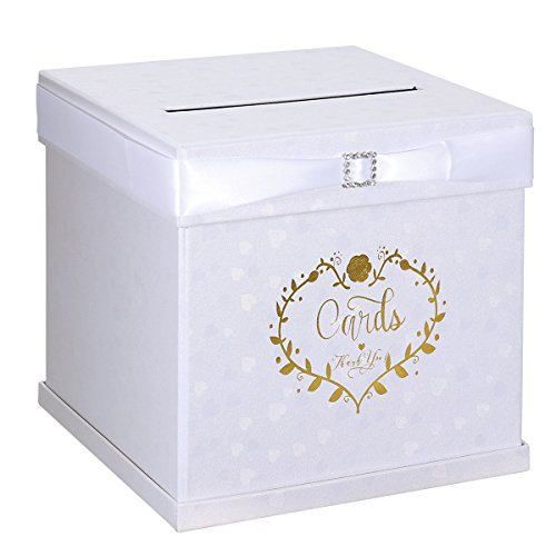 "Unomor Wedding Card Box with 2 Color Ribbons, Rhinestone Slider and 3 Stylish Crystals, 10""x10"" Textured White Gift Card Box with Golden Embossed Hearts Design"