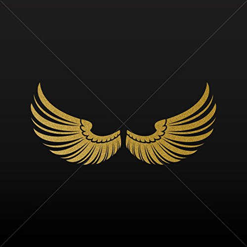 Sticker Pair of Wings Decoration Motorbike Bicycle Vehicle A Gold-Matte (5 X 4.54 Inches)