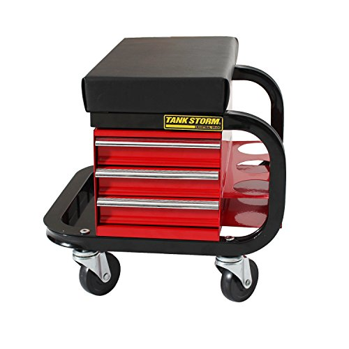 - TANKSTORM Tool Box Built-In Creeper Seat, Garage Shop Roller Seat, 3 Drawers Heavy Duty Tool Chest With 4 Rolling Casters-450 Lbs Capacity