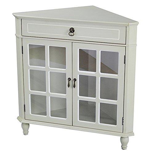 - Heather Ann Creations Modern 2 Door Corner Cabinet with Drawer with 6 Pane Glass Insert Beige/White Trim