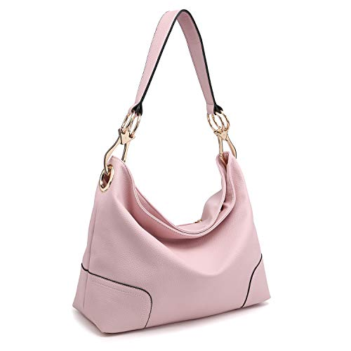 Dasein Women's Classic Faux Leather Hobo Purse Shoulder Bag Tote Handbag (7676- Pink)