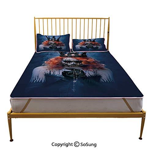 Queen Creative Queen Size Summer Cool Mat,Queen of Death Scary Body Art Halloween Evil Face Bizarre Make Up Zombie Sleeping & Play Cool Mat,Navy Blue Orange Black]()