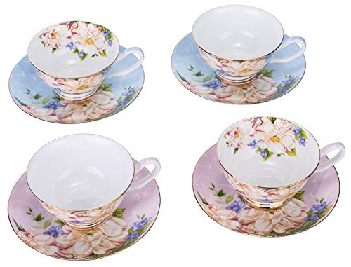 Altrumate Bone China Porcelain Rose Chintz Cups with Saucers, 4 Ounce for Coffee, Latte, Mocha and Tea, Assorted colors, Set of 4, Gift Box Packed