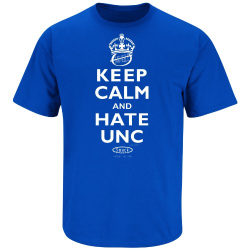 Duke Basketball Fans. Keep Calm and Hate UNC Blue T-Shirt (S-3X) (Large)