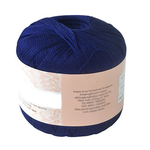 HEART SPEAKER Mercerized Cotton Cord Thread Yarn for Embroidery Crochet Knitting Lace Jewelry (Navy (Cotton Yarn Lace)