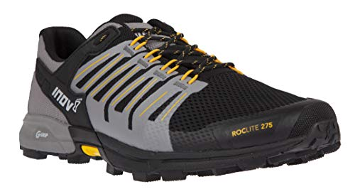Inov-8 Mens Roclite G 275 - Lightweight Trail Running OCR Shoes - Graphene Grip - for Obstacle, Spartan Races and Mud Running - Black/Yellow M11.5/ W13