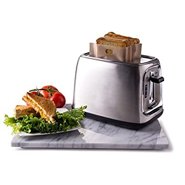 Quiseen Sandwich Toaster Toast Bags - Set of 2 - Non-Stick, Reusable, Heat-Resistant