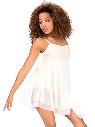 Dress Asymmetrical Camisole - Double Platinum Adult Asymmetrical Camisole Dress N7175PCHS Peach Small