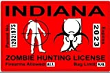 Indiana IN Zombie Hunting License Permit Red - Biohazard Response Team Automotive Car Window Locker Bumper Sticker